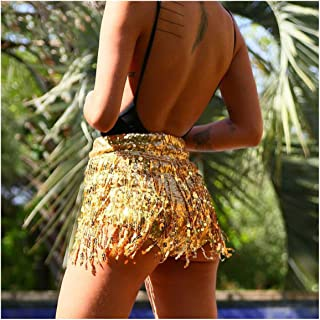 maxsan Sequined Tassel Shorts Women Summer Back Zipper Sexy Clubwearhigh Waist Skinny