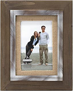 Malden International Designs Rustic Distressed Wood Fashion Two Tone Cedar Picture Frame with Burlap Mat Picture Frame, 4x6, Brown