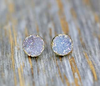 White Lilac Natural Druzy Stud Earring- Real Genuine Druzy Quartz Gemstone- 8mm