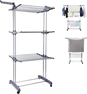 3 Tier Clothes Drying Rack Folding Laundry Dryer Hanger Compact Storage Steel Indoor Outdoor Grey