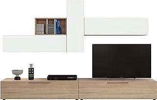 Habitdesign 016685F Mueble de Comedor Conjunto de salón Acabado en Color Blanco Artik y Roble Canadian Modelo Enzo 260 ...