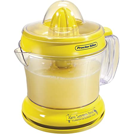 Proctor Silex Alex's Lemonade Stand Citrus Juicer Machine and Squeezer (66331), 34 oz, Yellow