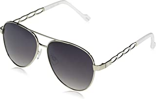 Women's J5856 Metal Chain Temple Aviator Sunglasses with 100% UV Protection, 60 mm