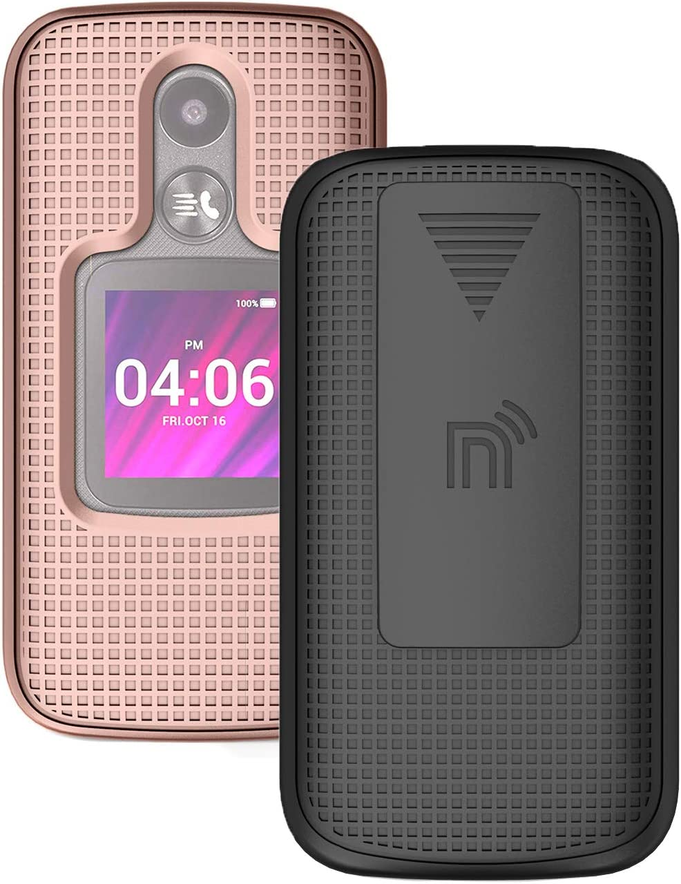 Case with Clip for MyFlip-2 Phone, Nakedcellphone [Rose Gold Pink] Snap-On Hard Shell Cover with [Rotating/Ratchet] Belt Hip Holster Holder for Alcatel MyFlip 2 Phone (A406DL), TCL My Flip 2