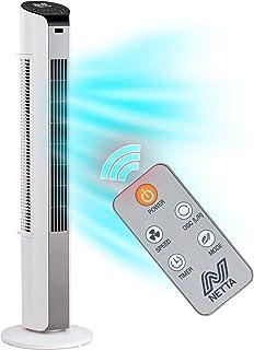 NETTA Ventilador de torre oscilante blanco de 32 pulgadas, 3 ajustes de velocidad con función de temporizador de 7 horas y control remoto, motor de 35 W.