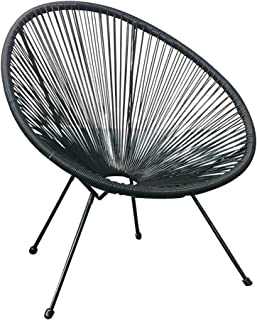 Acapulco Sun Oval Outdoor Patio Chair All-Weather Patio Indoor Outdoor Acapulco Weave Lounge Chair,1 Piece,Black