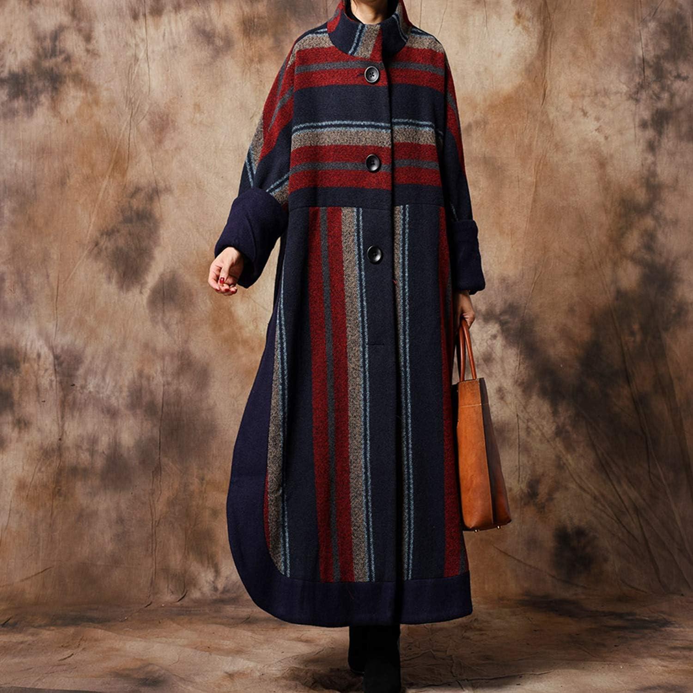 Women's Long Windbreaker Fashion Elegant Woolen Autumn Winter Ladies Coat Ideal for Adult Girls Outdoor Activities Wear,Gift