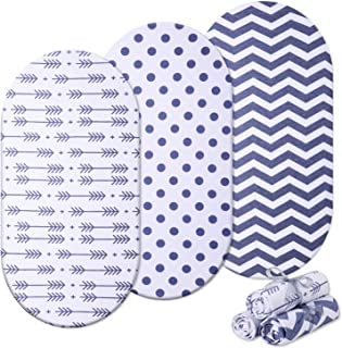 Momcozy Bassinet Sheets 3 Pack, 100% Universal Breathable Cotton Sheet Set for Unisex Boys Girls, Fit for Most Bassinet Pad/Mattress Like Halo, MiClassic, Chicco Lullago and More