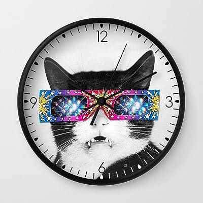 Society6 Laser Cat Wall Clock Black Frame, Black Hands
