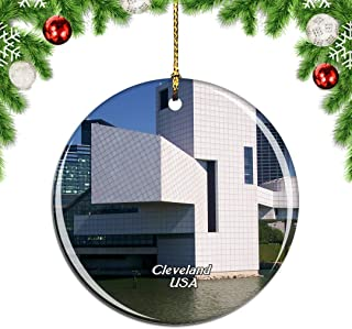 Weekino USA America Rock & Roll Hall of Fame Cleveland Christmas Xmas Tree Ornament Decoration Hanging Pendant Decor City Travel Souvenir Collection Double Sided Porcelain 2.85 Inch