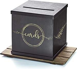 """Hayley Cherie - Black Gift Card Box with Gold Foil Printed Design- Textured Finish - Large Size 10"""" x 10"""" - Perfect for Weddings, Baby Showers, Birthdays, Graduations, 21st Parties"""