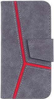 OMATENTI iPhone 7 / iPhone 8 ケース 手帳型 簡潔 高級感PUレザー カード収納ホルダー付き ストラップ付き 落下防止 全面保護 衝撃吸収 保護カバー iPhone 7 / iPhone 8 用, グレー