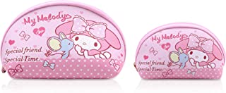 Finex 2 pcs Set My Melody PU Leather ONE Cosmetic Bag Make up Organizer + ONE Coin Purse with Straps