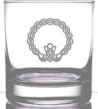 IE Laserware Celtic Irish Claddagh Etched 12.5 oz Rocks Old Fashion Whiskey Scotch Glass