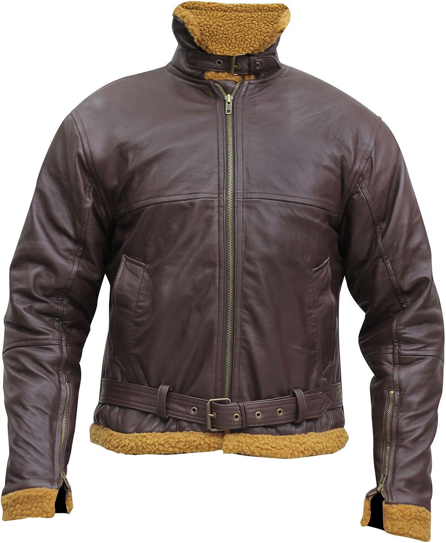 Mens B3 Ginger Flying Aviator Pilot Winter Fur Shearling Sheepskin Leather Bomber Jacket