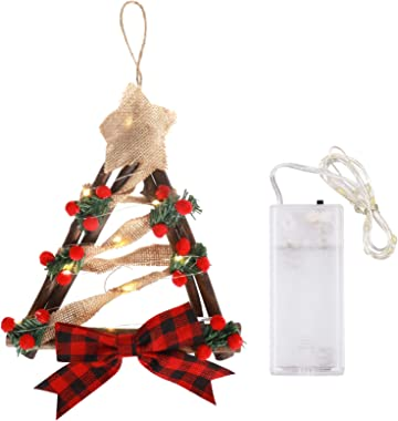 """11.8"""" Christmas Wreath Hanging Decoration Triangle Garland Light String with Bow Berries Holiday Wreath Ornaments Door Wall G"""