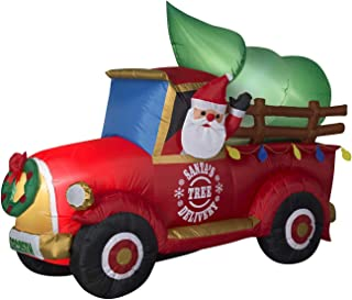 Gemmy Holiday Christmas Xmas Airblown Inflatable Outdoor Yard Decor Decoration LED Santa's Tree Delivery Truck (72