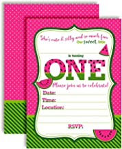 Sweet First Birthday Pink Watermelon Birthday Party Invitations, 20 5