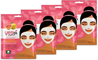 Yes To Grapefruit Vitamin C Glow Boosting Paper Mask Bundle (4 Single Use Masks)