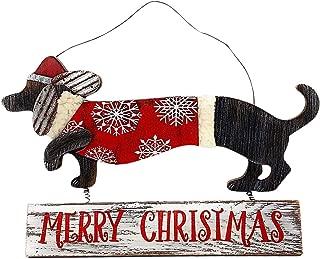 Transpac Dog Dachshund Door Wall Plaque Sign Christmas Holiday New Year Decoration Wreath Indoor Outdoor Wood Metal 9