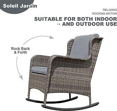 Soleil Jardin Outdoor Resin Wicker Rocking Chair with Cushions, Patio Yard Furniture Club Rocker Chair, Gray Wicker & Gra