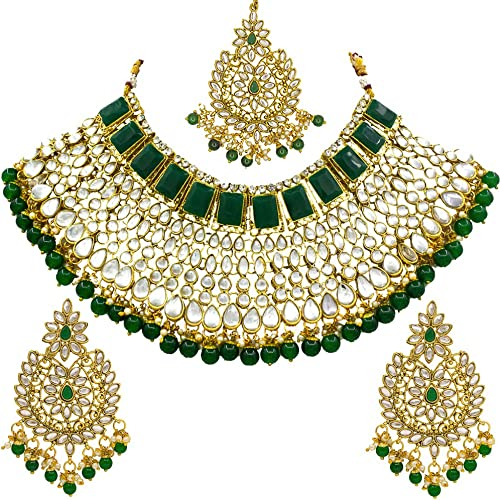 Beautiful Kundan Green Choker Half Bridal Gold Plated Necklace Set
