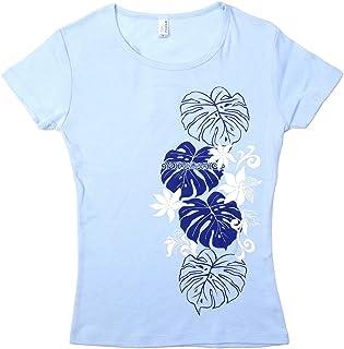 (ムームーママ) MuuMuuMama 半袖 フライス Tシャツ タヒチアンモンステラ柄 水色ボディ ネイビー&白プリント