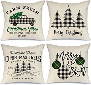 Best AENEY Buffalo Plaid Christmas Pillow Covers 18x18 Set of 4 Marry Bright Tree Christmas Pillows Rustic Winter Holiday Throw Pillows Farmhouse Christmas Decor Truck Xmas Decorations for Couch A281 Review