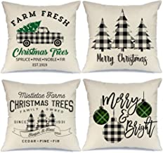 AENEY Buffalo Plaid Christmas Pillow Covers 18x18 Set of 4 Marry Bright Tree Christmas Pillows Rustic Winter Holiday Throw...