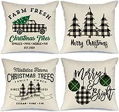 AENEY Farmhouse Christmas Pillow Covers 18x18 inch Set of 4 for Home Decor Black Buffalo Check Christmas Decor Farmhouse Christmas Pillows Buffalo Plaid Christmas Decorations Throw Pillow Covers