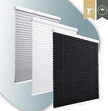 KINLO accu plisségordijn zonder boren met klemsteun (90 * 130cm zwart) zwart vouwgordijnen Klemmfix privacy en zonwering ondoorzichtige zonwering jaloezieën voor ramen en deuren