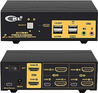 2 Port Dual Monitor KVM Switch HDMI 4K@60Hz YUV 4:4:4 with Audio Outputs and USB 2.0 HUB CKL-922HUA-2