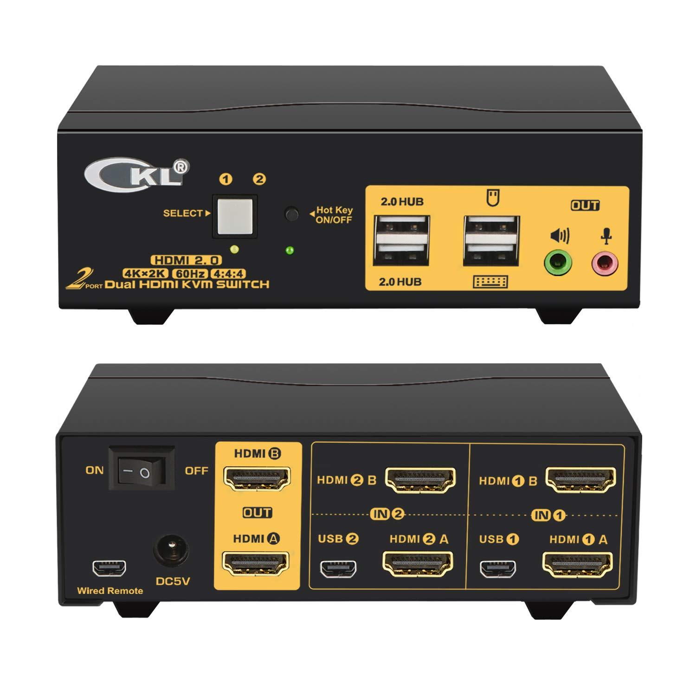 2 Port Dual Monitor KVM Switch YUV Audio with Detroit Mall HDMI 4K@60Hz 4:4:4 Ranking TOP5