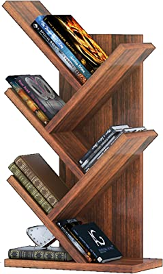 Klaxon Engineered Wood, Matt Finish Quirk Book Shelf Bookcase Space | Book Organizer | Books Holder for Home Decor & Office (Walnut, Set of 1)