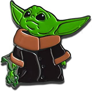 Baby Yoda 2 inch with Frog The Child Character from The Star Wars Disney Television Series The Mandalorian with Double Butterfly Clutch, Multicolor, Pin
