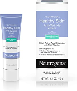 Neutrogena Healthy Skin Anti-Wrinkle Cream with Retinol & SPF 15 Sunscreen, Oil-Free Moisturizer with Vitamin E, Vitamin B5 & Vitamin A, Hypoallergenic & Fragrance-Free, 1.4 oz