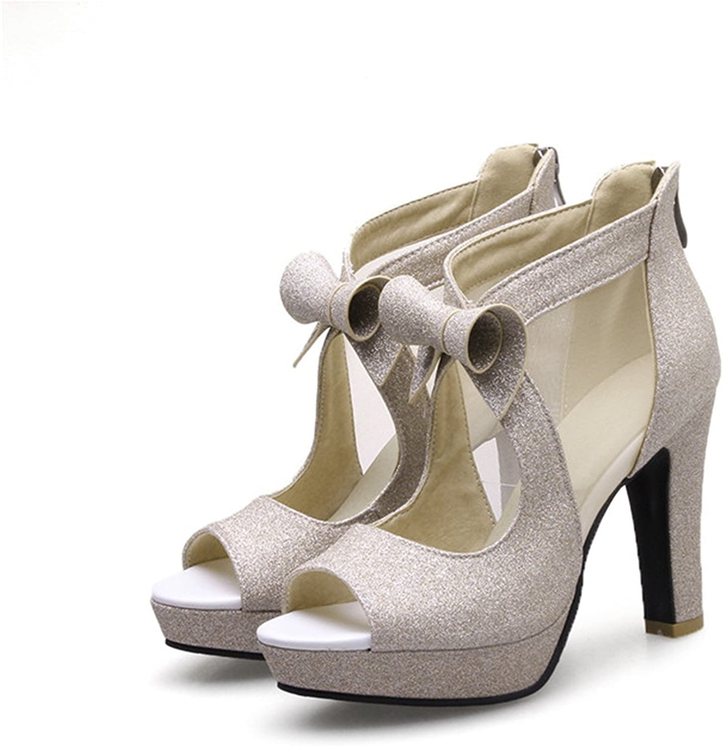 Women High Heels Platform shoes Bow Peep Toe Pumps Sexy High Heel Party shoes Silver Size 33-43