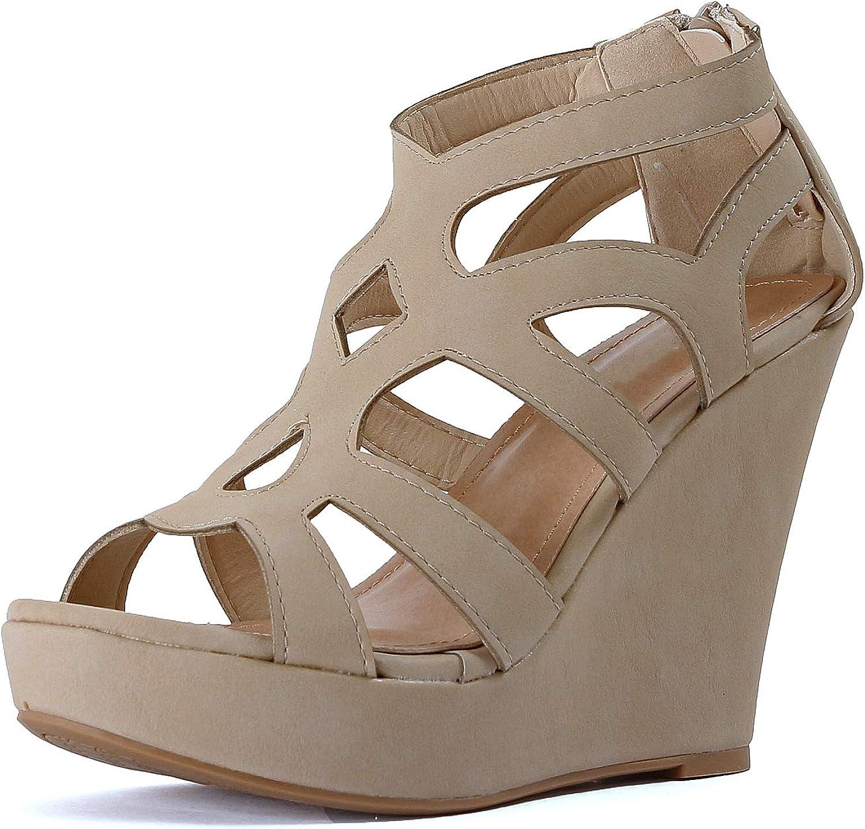Skyldig Hjärtkvinnor Hjärtkvinnor Hjärtkvinnor Gladiator Strappy Open Toe Platform Comfortable Wedge Sandals (6 M USA, Beigev6 Pu)  rabattbutik