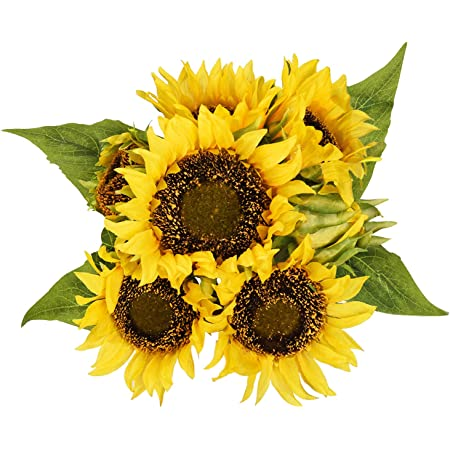 2pcs Htmeing Artificial Sunflowers Silk Flowers Fake Branches Decorative Plants Stems for Home Office Shop Decor