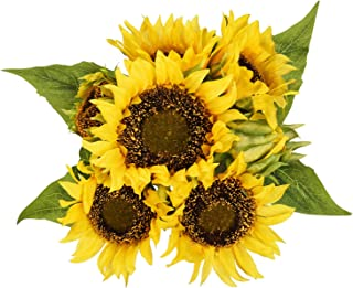 Shiny Flower Artificial Sunflower Bouquets, Lifelike Silk Sunflowers with 7 Floral Heads,Bride and Groom Holding Flowers for DIY Wedding Office Party Garden Hotel Home Decoration