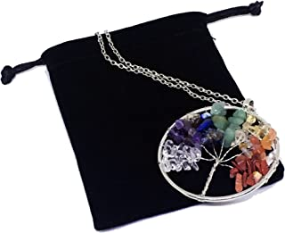 Duseco Tree of Life Pendant Amethyst Rose Crystal Necklace Gemstone Chakra Vintage Jewelry Gifts for Mothers (Round)