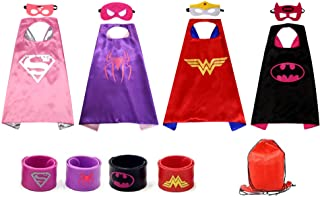 Yalla Baby Kids Girls Superhero Costume Dress Up Set Cape, Mask and Wrist Band for Girls Costumes Birthday Party Gifts - f...