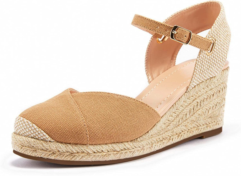 Washington Mall Womens Wedge Espadrille Sandals Platform Buckle free Strap Cross Slin