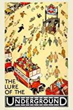 Lure of The Underground Subway by Alfred Leete 1927 Double Decker Bus Tourist Vintage Illustration TravelCool Wall Decor Art Print Poster 12x18