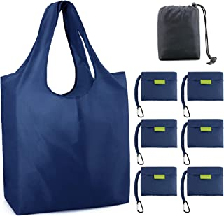 Reusable Grocery Bags Foldable Shopping Bags Folding Shopping Tote Bag Fits in Pocket 6 Navy