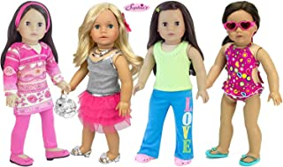 13 Piece Doll Set to Fill Your Doll Closet | 1 Casual Outfit 1 Dressy Outfit 1 Bathing Suit 1 School Outfit Plus Sunglasses, Shoes and More