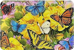 DOHOOC Yellow Floral Butterfly Welcome Door Mat Durable Rug Home Décor Doormat for Indoor Outdoor Absorb Water & Machine Washable & Soft-Material & Non-Slip, 24