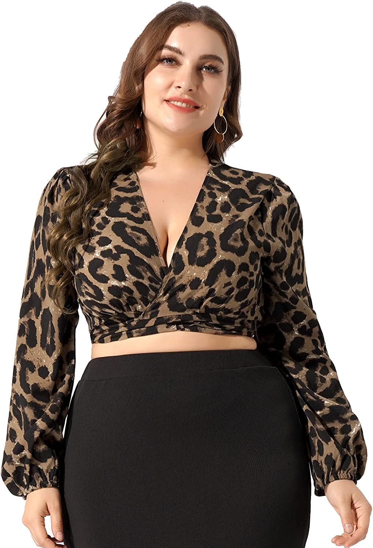 Kaerm Women Plus Size Lingerie Shirt Cardigan Shrug Bolero Leopard Print Puff Long Sleeve Crop Top