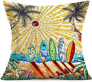 Hopyeer Summer Beach Decor Throw Pillow Cover Cotton Linen Tropical Hawaii CoconutTree Surfboard Flower Color Painting Pillowcase for Holiday Sofa Car Decoration Cushion Cover 18
