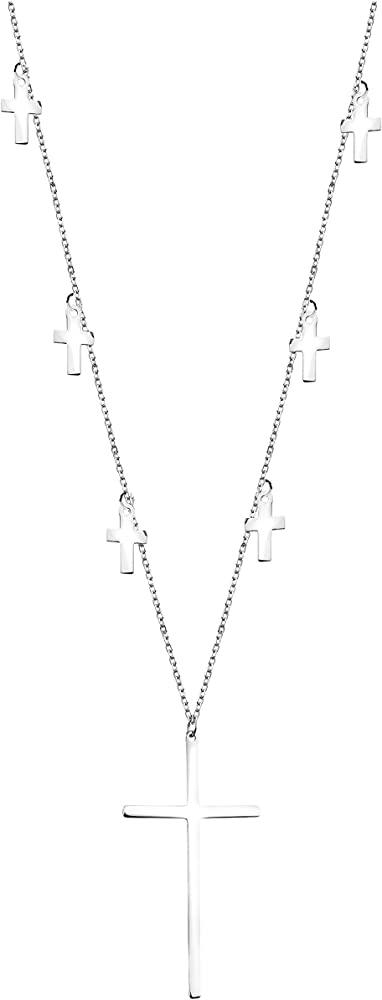 Sofia milani, collana per donna,con croce pendente argento 925 50297